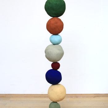 SOLD Stack 8 (Iron Oxide Green), 2015, Foam core, pigment, metal, concrete, plaster, sand, 77.2 x 13 x 13 inches