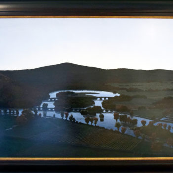 The Oxbow, After Church, After Cole, Flooded (Flooded River with Green Light for the Matriarchs E. & A. Mongan), 1999, Polished oil on canvas stretched over panel, 48 x 72 inches
