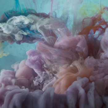 Abstract photograph by Kim Keever, clouds of pigment in water