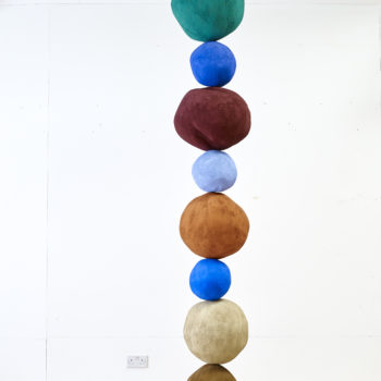Stack 8 (Viridian Green), 2015, Foam core, pigment, metal, concrete, plaster, sand, 116 x 21 x 21 inches
