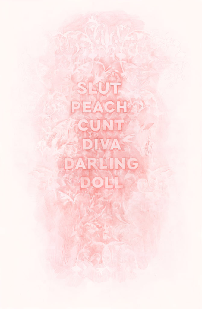 Slut Peach Cunt Diva Darling Doll, 2017, Colored pencil on paper, 36 x 22 inches