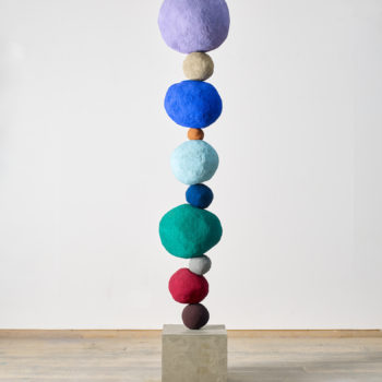 SOLD Stack 10, Studio Violet, 2018, Foam core, concrete, steel, plaster, sand, 98 x 17 x 17 inches tall