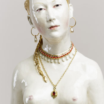 Diana (after Cranach), 2019, earthenware, glaze, lustre, mixed media, 28 x 8 x 8 inches, detail