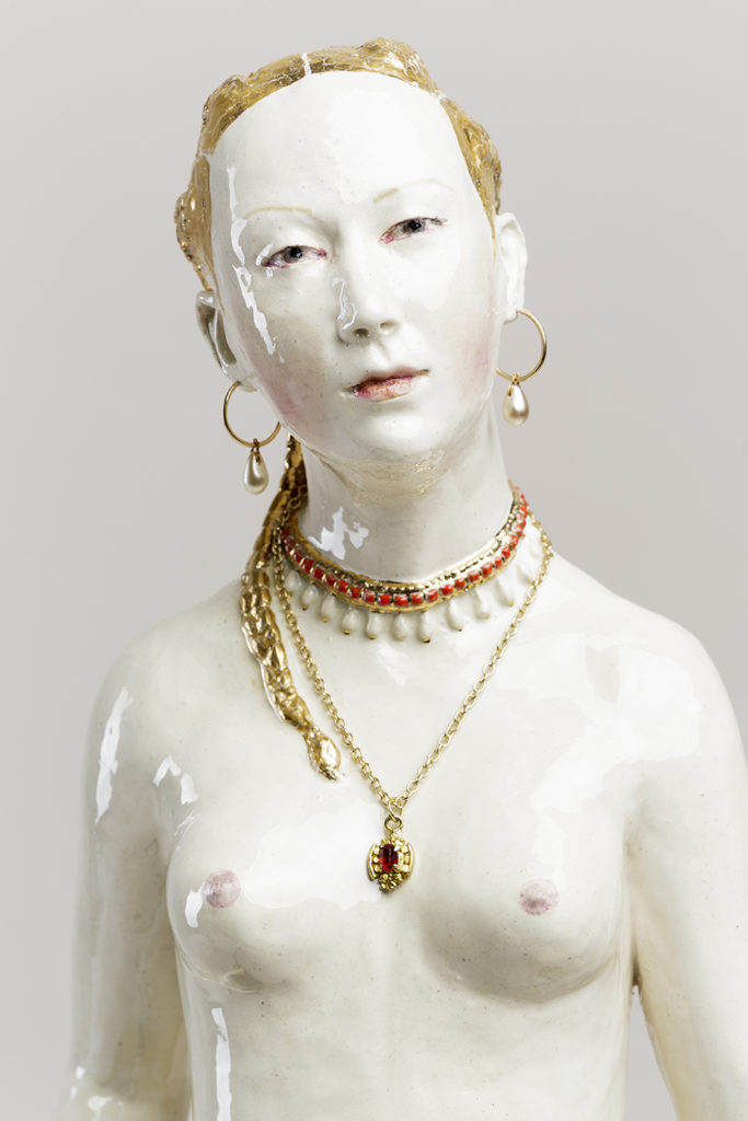 SOLD Diana (after Cranach), 2019, earthenware, glaze, lustre, mixed media, 28 x 8 x 8 inches, detail