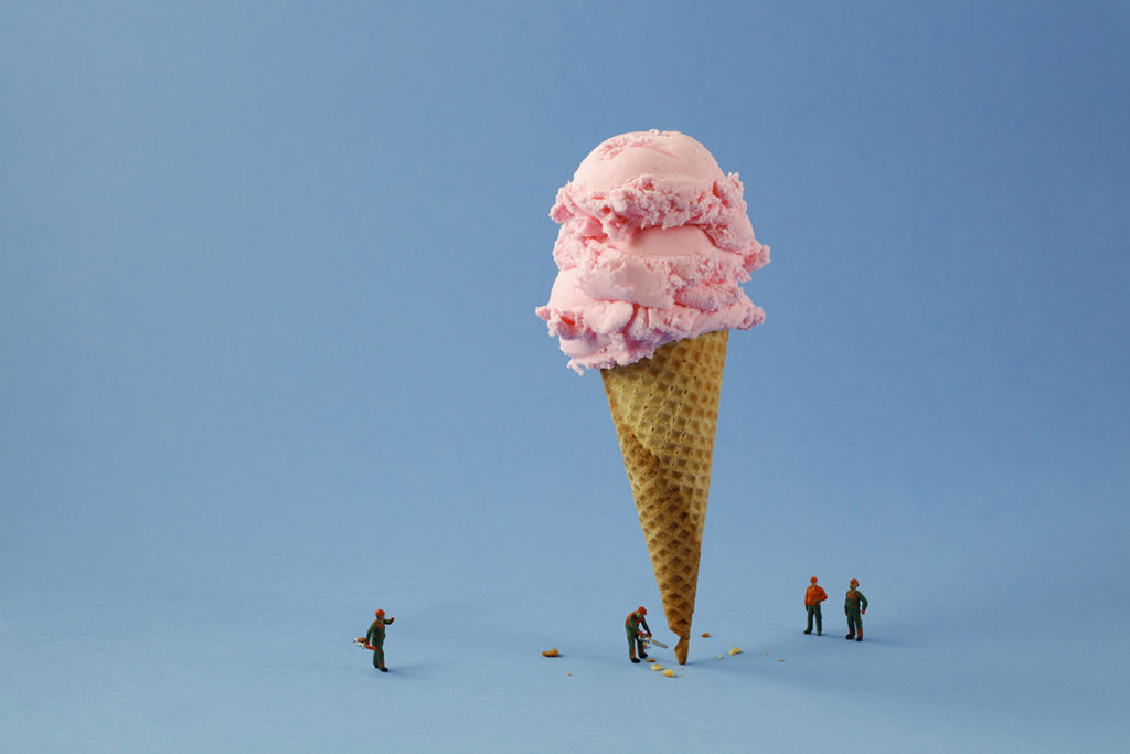 Ice Cream Cone Lumberjacks, 2019, archival pigment print on metallic paper, 24 x 36 inches and other various sizes