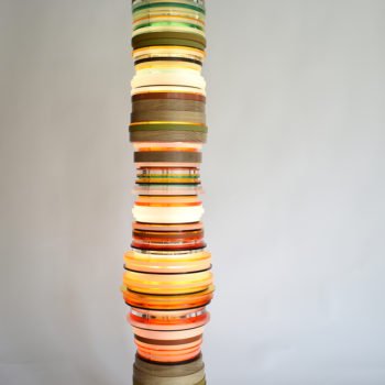 SOLD Orange Oak, 2020, Oiled oak, acrylic, painted MDF, aluminum and LED, 56 x 10 x 10 inches