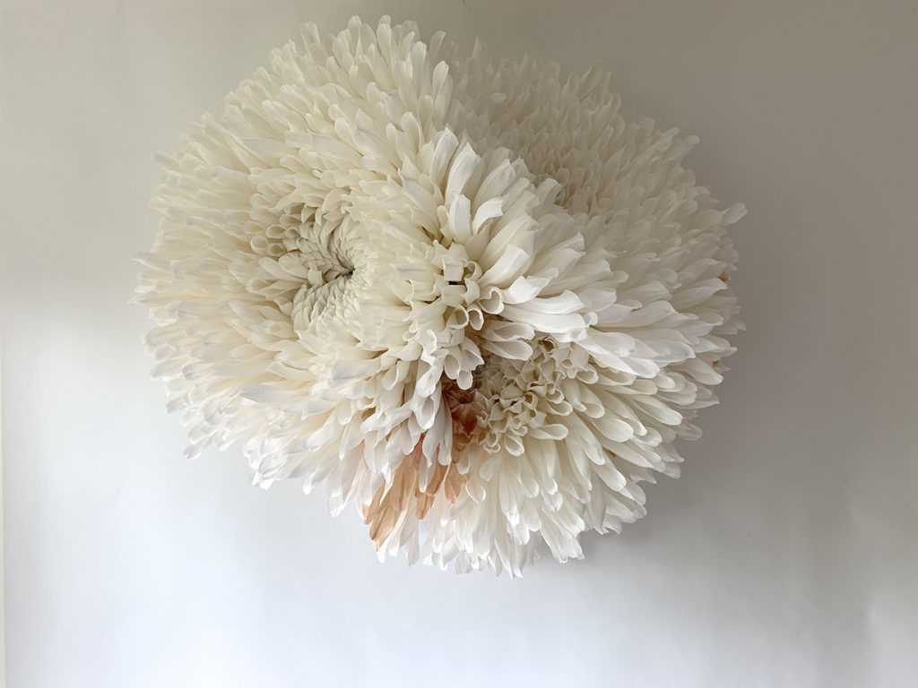 Three Chrysanthemums, 2020, Paper mâché, Italian crepe paper, glue, stain, wire, wood rods, 46.5 x 45.5 x 24 inches