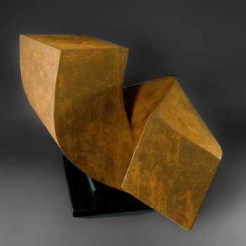 Twisted Lock, 2020, Clay with iron oxide finish, 19 x 21 x 12 inches