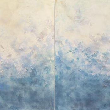 SOLD Noctuelles, 2020, Hot wax, cold wax, ink, and oil on panel, 48 x 96 inches