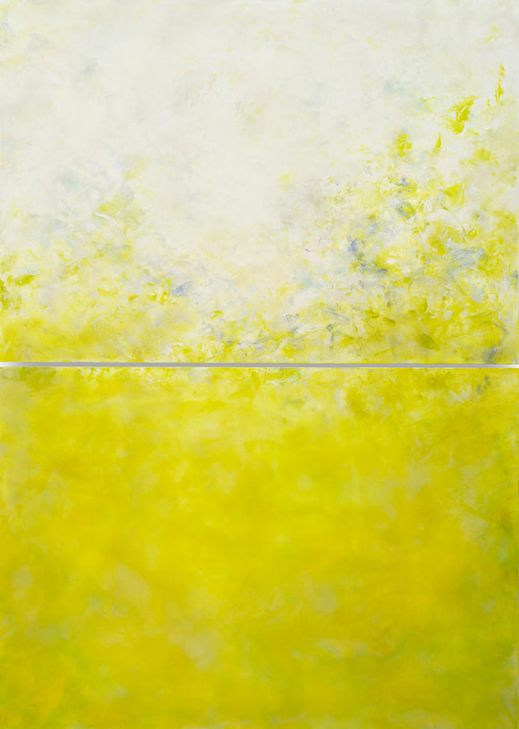 Sparkle Dropping Argentine, 2020, Hot wax, cold wax, oil, and ink on panel, 84 x 60 inches