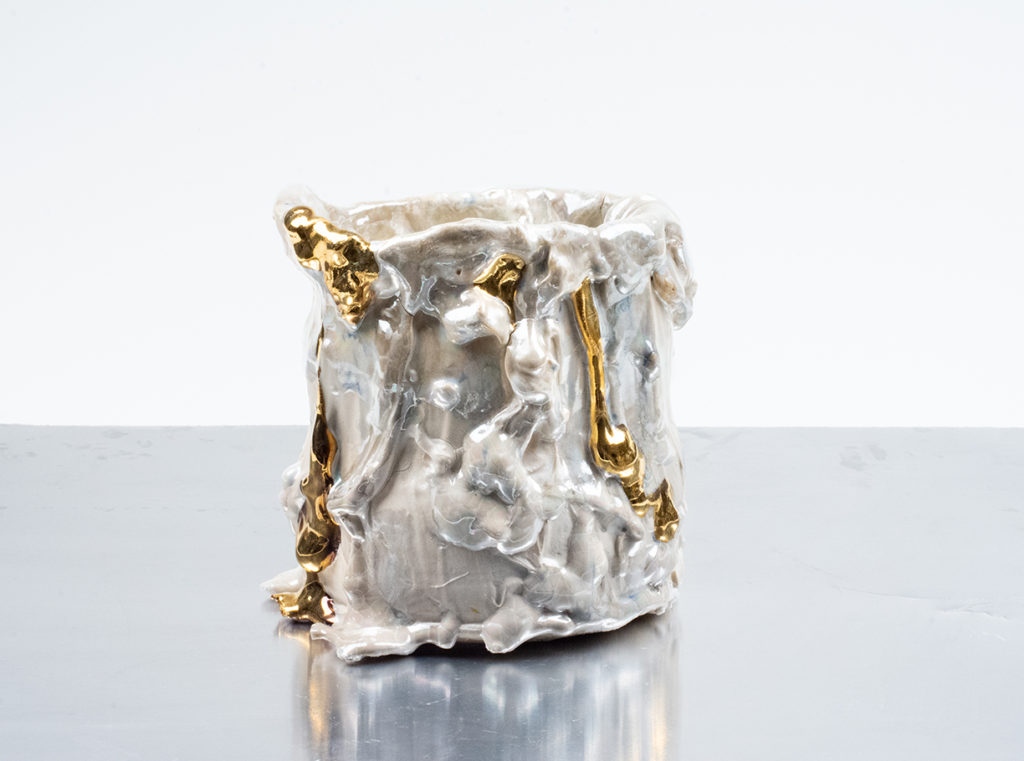 Accumulation Vessel 81, 2021, Porcelain, gold, and mother of pearl lusters, 6.5 x 6 x 6.5 inches