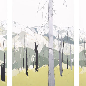 This Borderless Distance, 2021, Oil and graphite on panel, 60 x 129 inches (Triptych, 60 x 43 inches each and can be sold separately)