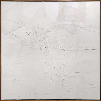 Mend, 2018, Acrylic and gauze on canvas, 48 x 48 inches (Frame size: 49.5 x 49.5 x 2 inches)